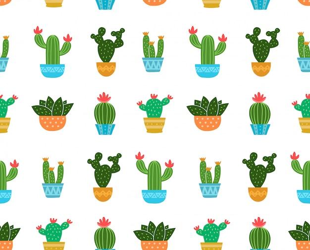 Cactus illustration seamless pattern. isolated on white . cactus
