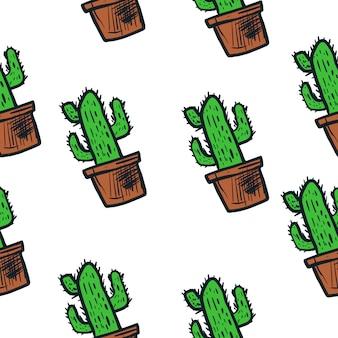 Cactus illustration vector pattern seamless