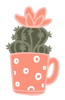 손잡이가 있는 장식용 컵에서 꽃이 만발한 선인장. 소박한 집을 위한 고립된 장식, 물방울 무늬가 있는 화분. 가정용 식물과 녹지. 원예 및 꽃의 성장, 평면 스타일의 벡터