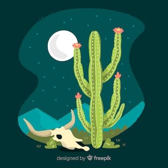 夜の図で砂漠のサボテン