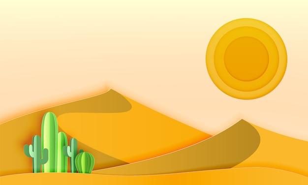 종이 아트 스타일 벡터 일러스트와 함께 사막 풍경에 선인장