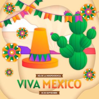 紙のスタイルでメキシコのサボテン国際デー