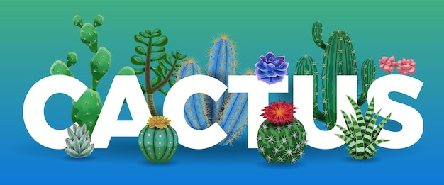 Cactus letters surrounded by plants illustration