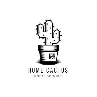 Дизайн шаблона логотипа кактус в черно-белых тонах. ретро стиль