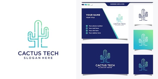Cactus logo with gradient tech style and business card design