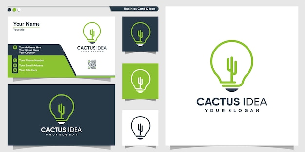 Cactus logo with idea line art style and business card design, template