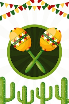 Cactus and maracas of mexican culture illustration
