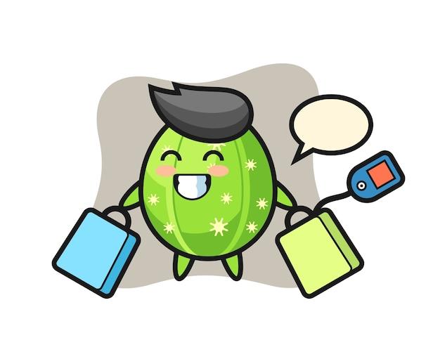 Cactus mascot cartoon holding a shopping bag