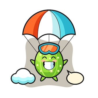 Cactus mascot cartoon is skydiving with happy gesture
