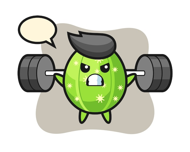 Cactus mascot cartoon with a barbell