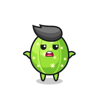 Cactus mascot character saying i do not know , cute style design for t shirt, sticker, logo element