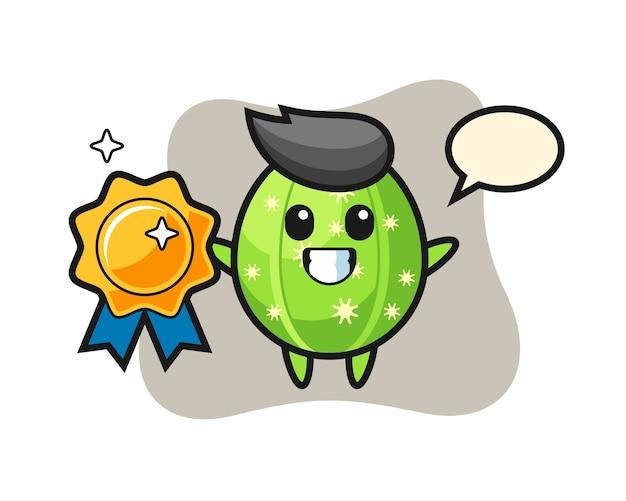 Cactus mascot illustration holding a golden badge