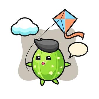 サボテンのマスコットイラストが凧を弾いています