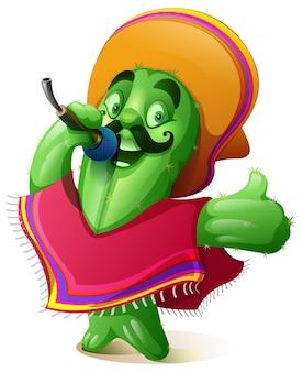 Cactus in mexican clothes poncho and sombrero singing karaoke. cinco de mayo fiesta festival
