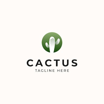 Cactus modern concept logo template isolated in white background