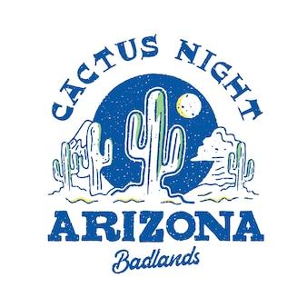 サボテンの夜アリゾナカラフルなロゴデザイン