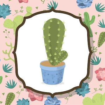 砂漠の植物の背景にポットのサボテン