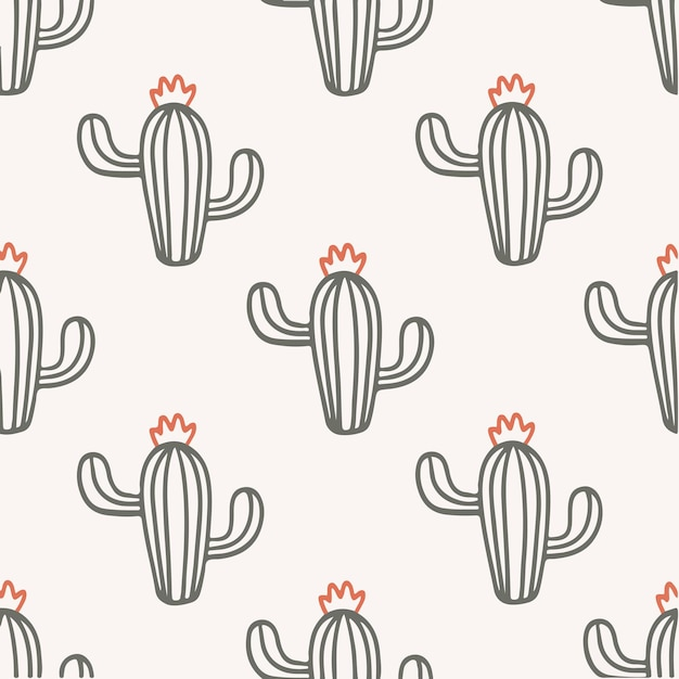 Cactus pattern background social media post plant vector illustration
