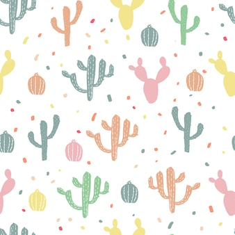 Cactus pattern. happy and colorful background. hand draw plants