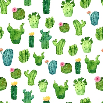 Cactus pattern watercolor style