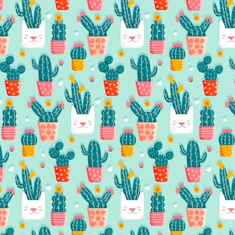 Cactus pattern with cute pots