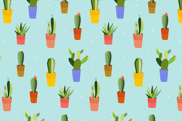 Cactus pattern with different shapes