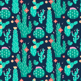 Cactus pattern with flowers
