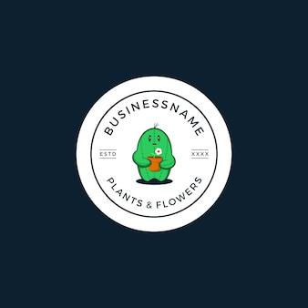Cactus plant and flower logo illustration