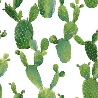 サボテン植物のシームレスなパターン。のエキゾチックな熱帯の夏の植物の背景。