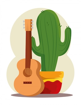 Cactus plant with guitar for day of the dead celebration