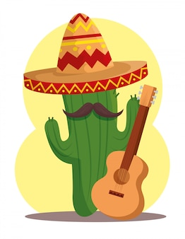 Cactus plant with hat and guitar for day of the dead