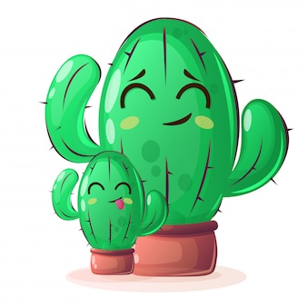 Cactus plants in cartoon style