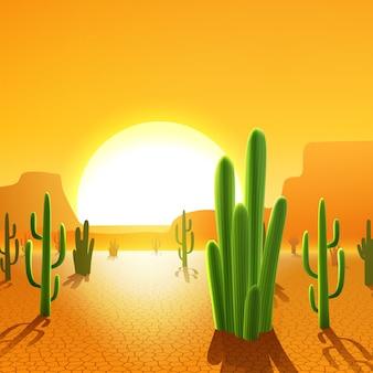 사막에서 선인장 식물
