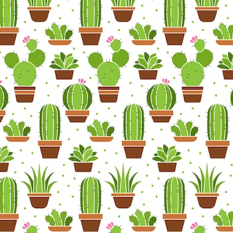 Cactus plants pattern collection