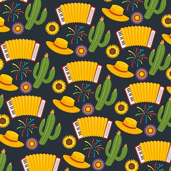 Cactus plants with hat and accordion background