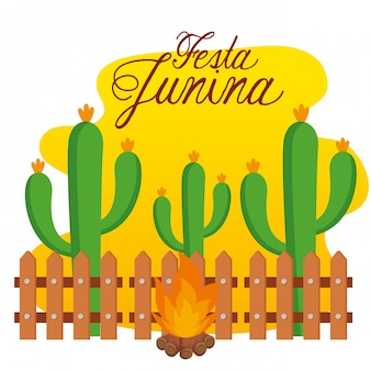 フェスタジュニーナへのwood火のサボテンの植物