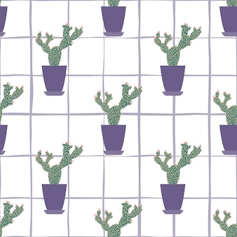 Cactus in pot seamless pattern on stripe background.