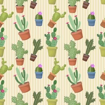 Cactus in pot seamless pattern.