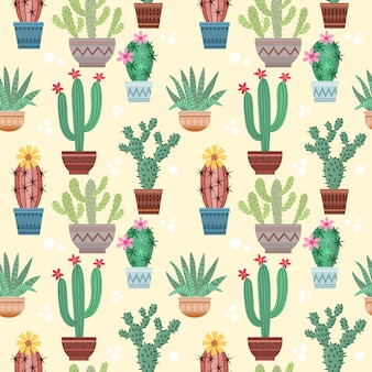 Cactus in pot seamless pattern.