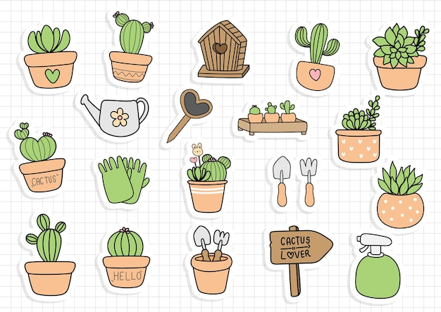 Cactus in a pot sticker, planner and scrapbook.