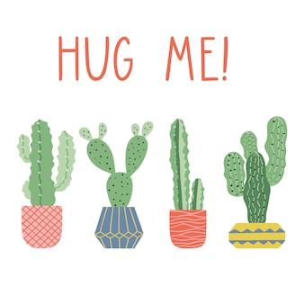 Cactus in pot, vector card design.