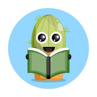 Cactus reading a book cute character logo