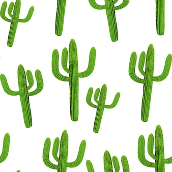 Cactus realistic seamless vector pattern on white background