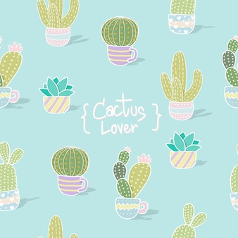 Cactus seamless pattern background