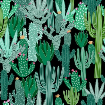 Cactus seamless pattern on black background. green cacti wallpaper.