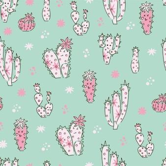 선인장 완벽 한 패턴입니다. 반복되는 귀여운 질감. 사막 식물과 배경입니다. 벡터 일러스트 레이 션.