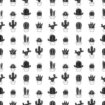 Cactus seamless pattern desert flower illustration