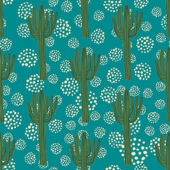 Cactus seamless pattern on green