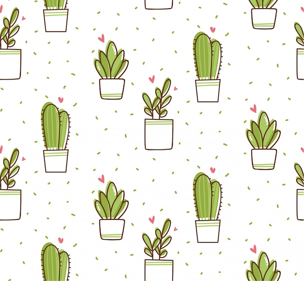 Cactus seamless pattern in kawaii doodle style
