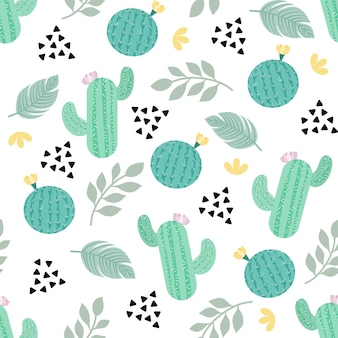 Cactus seamless pattern pastel color on white background for fabric, paper printed  wallpaper